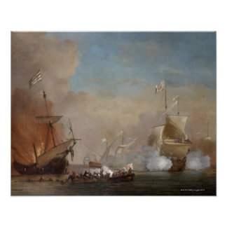 Pirates attack an English naval vessel painting Print