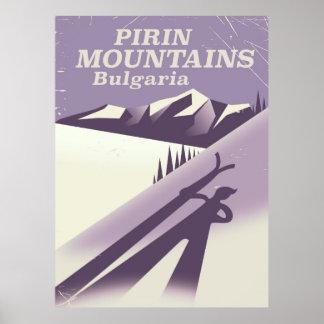 Pirin Mountains Bulgaria ski poster