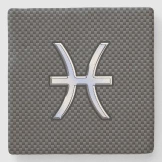 Pisces Zodiac Symbol on Carbon Fiber Print Stone Coaster
