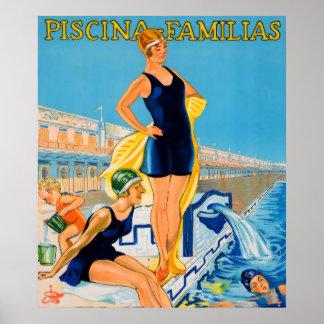 Piscina Familias Swimming Vintage Poster