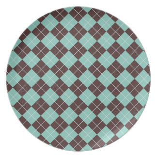 Pistachio Green and Chocolate Brown Argyle Pattern Plates