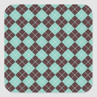 Pistachio Green and Chocolate Brown Argyle Pattern Square Sticker