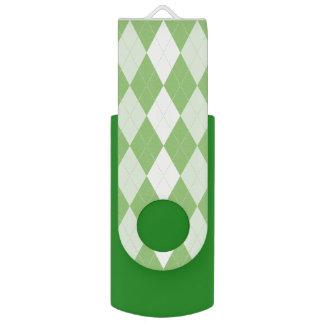 Pistachio Green Argyle Pale Green Small Diamond USB Flash Drive