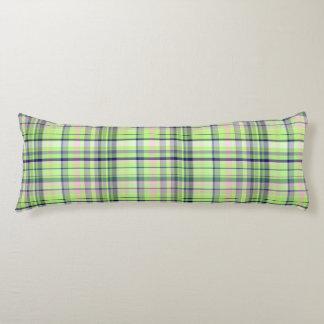 Pistachio Pink Navy Wht Preppy Madras Body Cushion