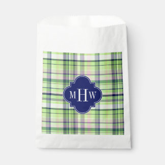 Pistachio Pink Navy Wht Preppy Madras Monogram Favour Bags