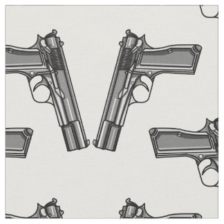 Pistols, Handgun Illustration Fabric