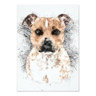 "Pit Bull Ink Sketch Portrait 5"" x 7"" Card"