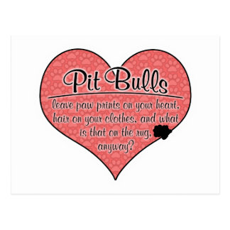 Pit Bull Paw Prints Dog Humor Postcard