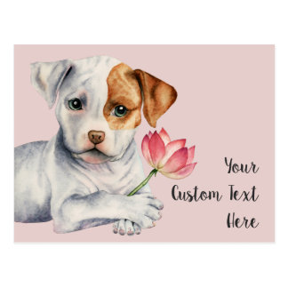 Pit Bull Puppy Holding Lotus Flower Painting Postcard