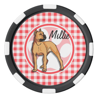 Pit Bull; Red and White Gingham Poker Chips