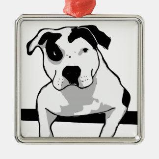 Pit Bull T-Bone Graphic Silver-Colored Square Decoration