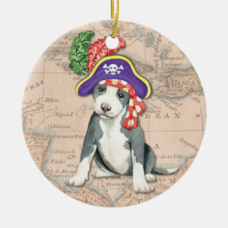 Pit Bull Terrier Pirate Christmas Ornament