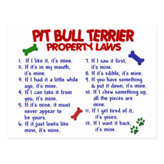 PIT BULL TERRIER Property Laws 2 Postcard