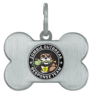 Pit Bull Zombie Outbreak Response Team Logo Pet Name Tags
