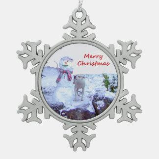 Pitbull and Snowman Christmas Snowflake Pewter Christmas Ornament