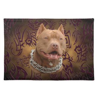 Pitbull brown tribal tattoo placemat