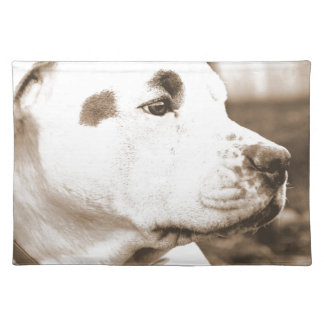 pitbull dog sepia color hate deed not breed placemat