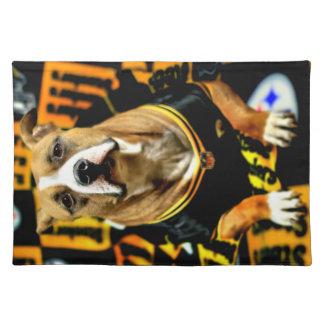 Pitbull Rescue Dog Football Fanatic Placemat