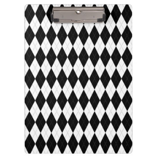 Pitch Black Argyle White Small Diamond Shape Clipboard