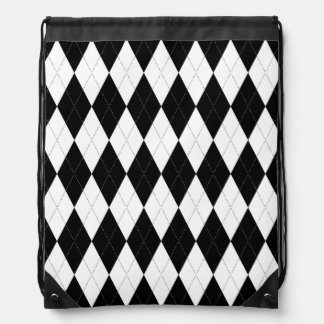 Pitch Black Argyle White Small Diamond Shape Drawstring Backpacks
