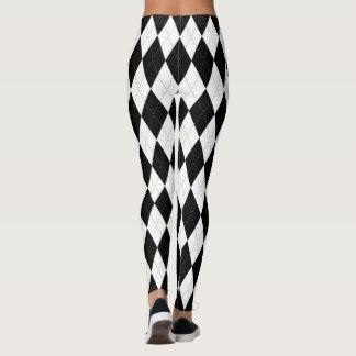 Pitch Black Argyle White Small Diamond Shape Leggings