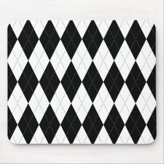 Pitch Black Argyle White Small Diamond Shape Mouse Pad