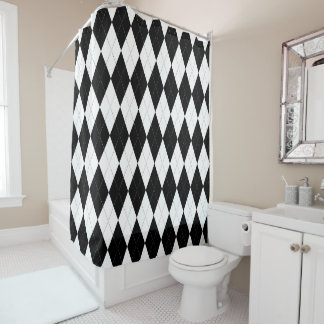 Pitch Black Argyle White Small Diamond Shape Shower Curtain