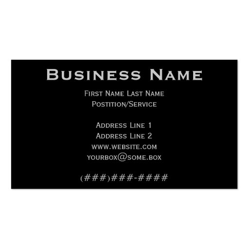 Pitch Black Business Cards