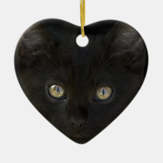 Pitch Black Feral Kitten With Shiny Loving Eyes Ceramic Heart Decoration