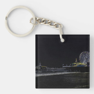 Pitch Black Neon Santa Monica Pier Double-Sided Square Acrylic Key Ring