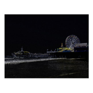 Pitch Black Neon Santa Monica Pier Postcard