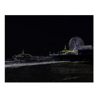 Pitch Black Neon Santa Monica Pier Post Cards