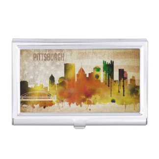 Pittsburgh, PA | Watercolor City Skyline Business Card Holder