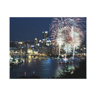 Pittsburgh Skyline at Dusk Stretched Canvas Print