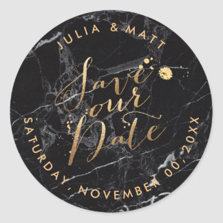 PixDezine Save the Date/Marble+Faux Gold Round Sticker