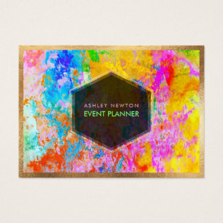 PixDezines Abstract Galaxy/Neon colours Business Card