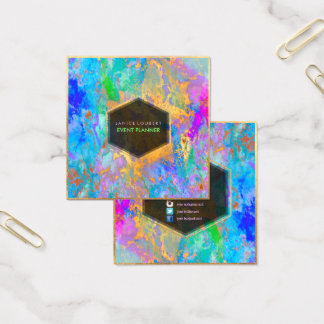 PixDezines Abstract Galaxy/Neon colours Square Business Card
