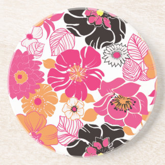 PixDezines Alegre, Mandarin Orange+Hot Pink Drink Coaster