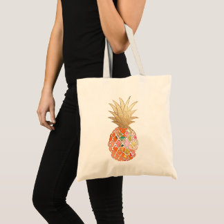 PixDezines Aloha Pineapple+Faux Gold Tote Bag