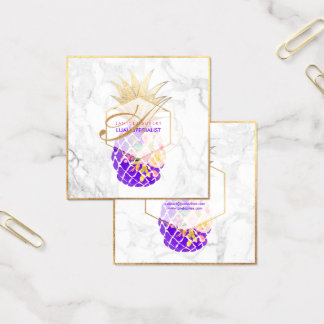 PixDezines Aloha Pineapples/Gold/Marble Square Business Card
