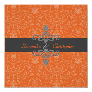 PixDezines Arianna Damask, diy color, Orange Spice 13 Cm X 13 Cm Square Invitation Card