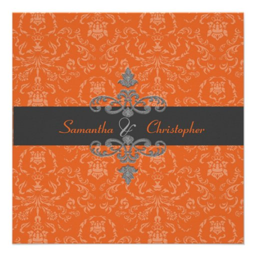 PixDezines Arianna Damask, diy color, Orange Spice Custom Invite