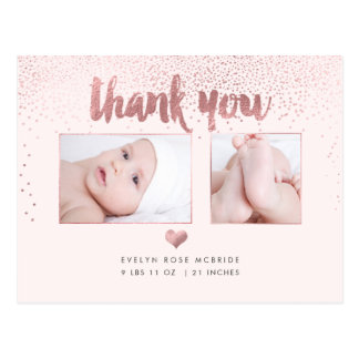 PixDezines Baby Shower Thank You/Faux Rose Gold Postcard