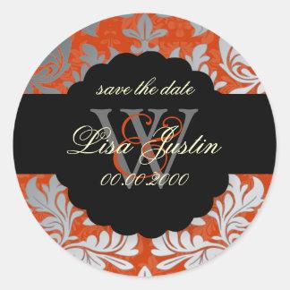 PixDezines Baroque Damask/Faux Silver+Spice Orange Round Sticker