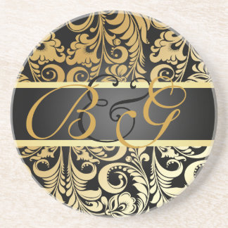 PixDezines Bellissimo Damask, Monogram Wedding Coasters