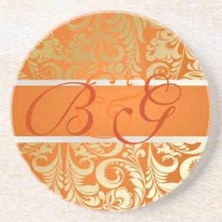 PixDezines Bellissimo Damask, Monogram Wedding Drink Coaster