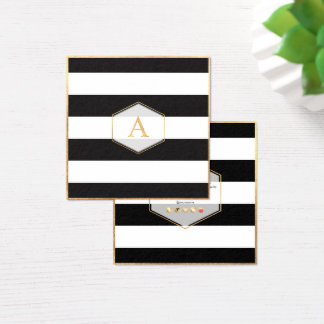 PixDezines BLACK+WHITE STRIPES/DIY COLOR Square Business Card