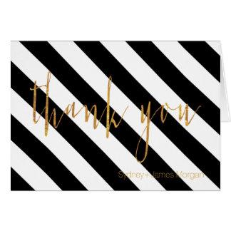 PixDezines black+white+stripes thank you cards