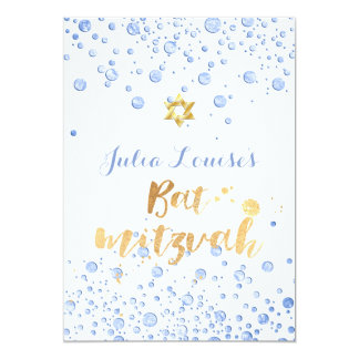PixDezines Blue Confetti Bat Mitzvah 13 Cm X 18 Cm Invitation Card