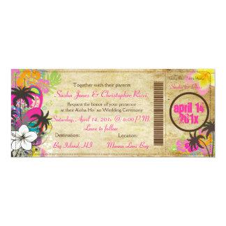 PixDezines Boarding Pass to Paradise 10 Cm X 24 Cm Invitation Card